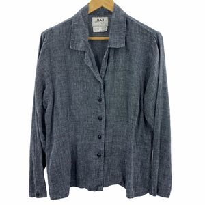 FLAX Gray Business Button-Up Top Size M Linen